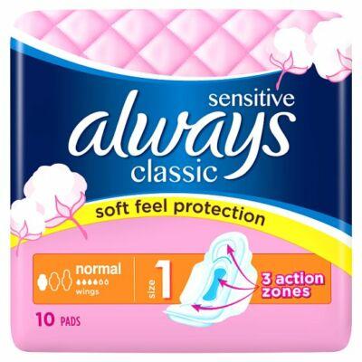 Always Classic Sensitive Normal szárnyas egészségügyi betét 10db