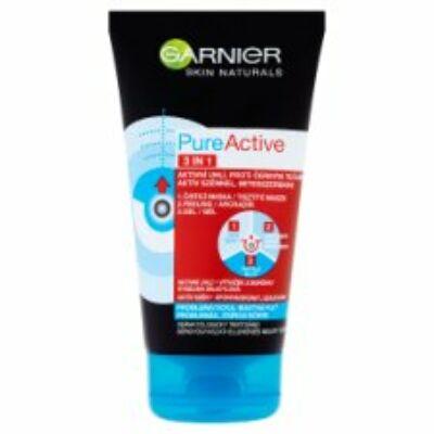 Garnier Skin Naturals Pure Active 3in1 tisztító maszk arcradír és gél aktív szénnel 150ml