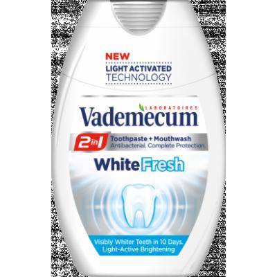 Vademecum 2in1 White Fresh fogkrém+szájöblítő 75ml
